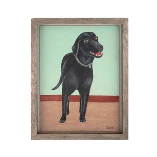 Contemporary Painting by Ione Skye Portrait Black Dog For Sale