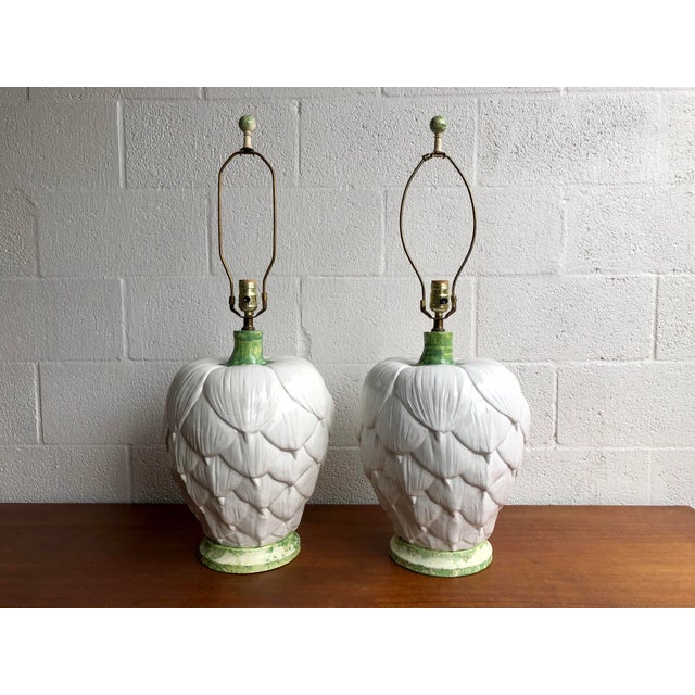 Paul Hanson Ceramic Artichoke Lamps - Pair For Sale - Image 11 of 11
