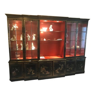 Vintage Black Lacquer Chinoiserie Cabinet For Sale