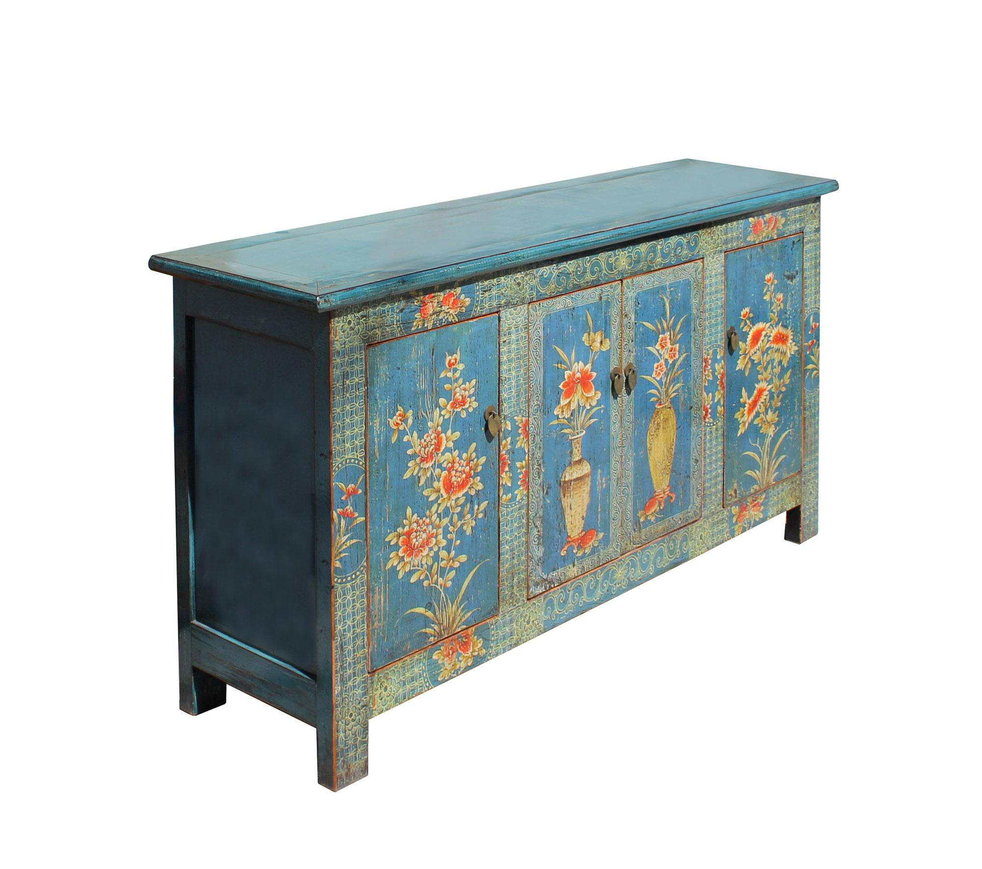 Chinese Distressed Bright Blue Flower Graphic Tv Console Cabinet   Image 4  Of 8