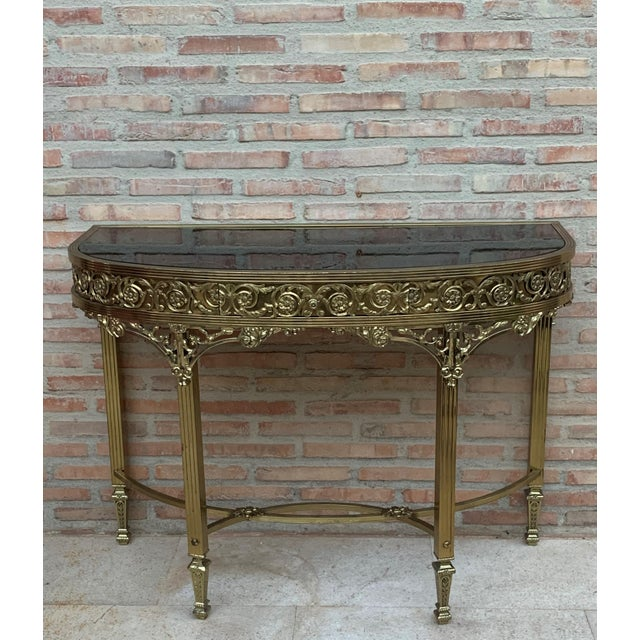 Bronze French Bronze Kidney Mirrored Dressing Table or Vanity With One Drawer For Sale - Image 8 of 9
