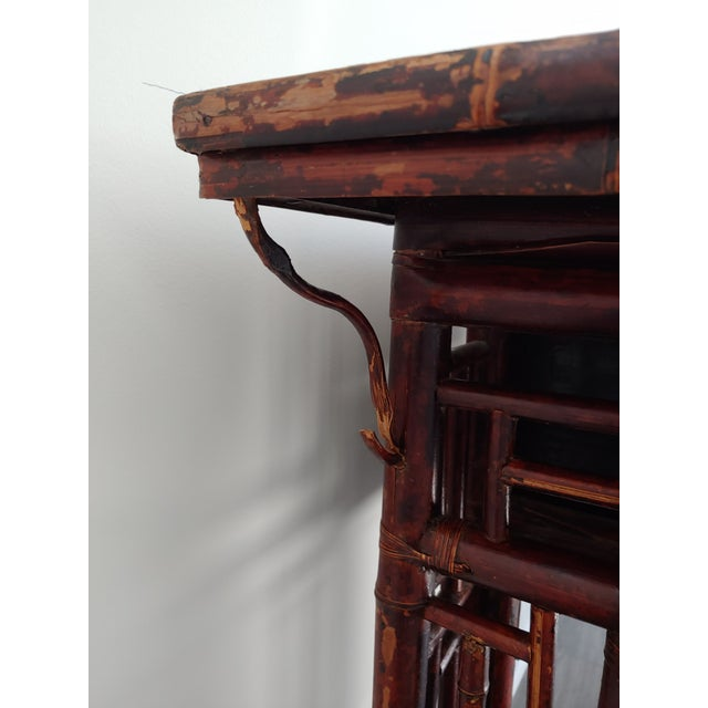 Wood Antique Chinese Chippendale Frettwork Altar Console Table For Sale - Image 7 of 13