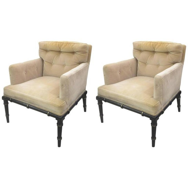 Mid 20th Century Pair of Upholstered and Ebonized Faux-Bamboo Armchairs For Sale - Image 5 of 5