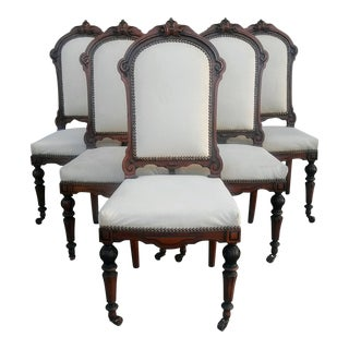 French 19th Century Walnut Dining Chairs - Set of 6