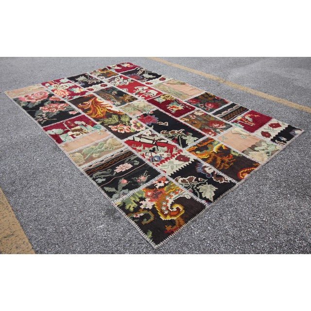Vintage Turkish Besarabian Patchwork Kilim Rug - 5′6″ × 8′2″ - Image 4 of 6