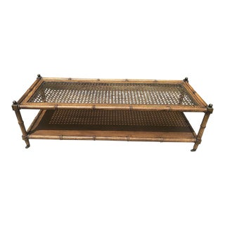 1960s Boho Chic Faux Bamboo Cane Coffee Table For Sale