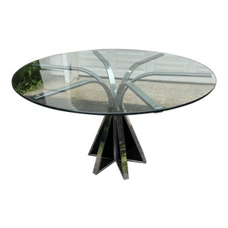 1970s Modern Chrome/Glass Dining Table For Sale