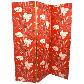 Decorative Three Panel Folding Room Divider, Dressing Screen For Sale