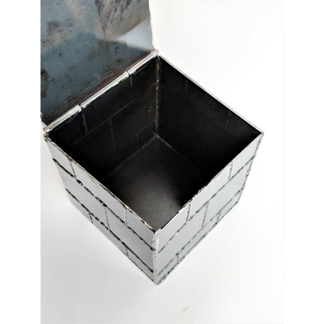 Metal Brutalist Metal Box Hand Welded Box For Sale - Image 7 of 12