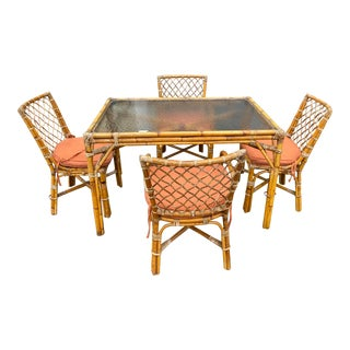 Mid Century Bamboo Dining Set - 5 Pieces For Sale