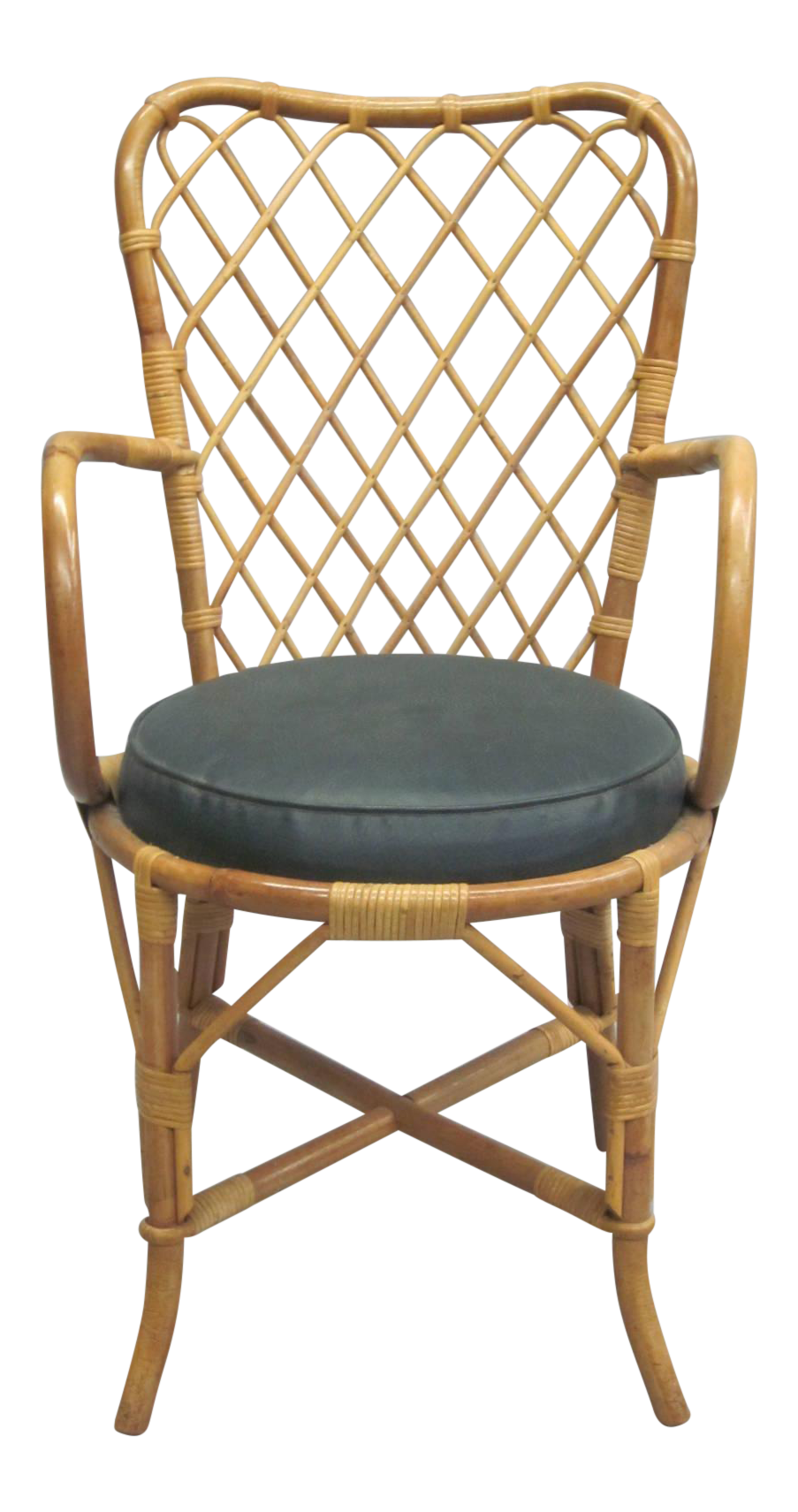 Two French Mid Century Modern Rattan Side Or Desk Chairs Attrib. To Jean  Royère