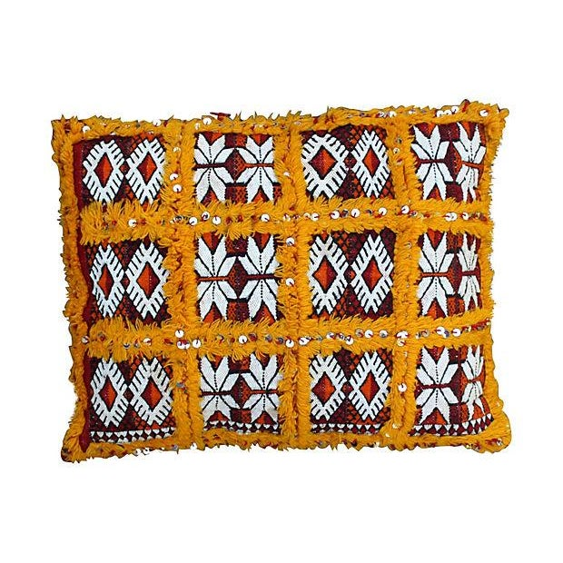 Orange Grid & Sequins Berber Pillow II For Sale