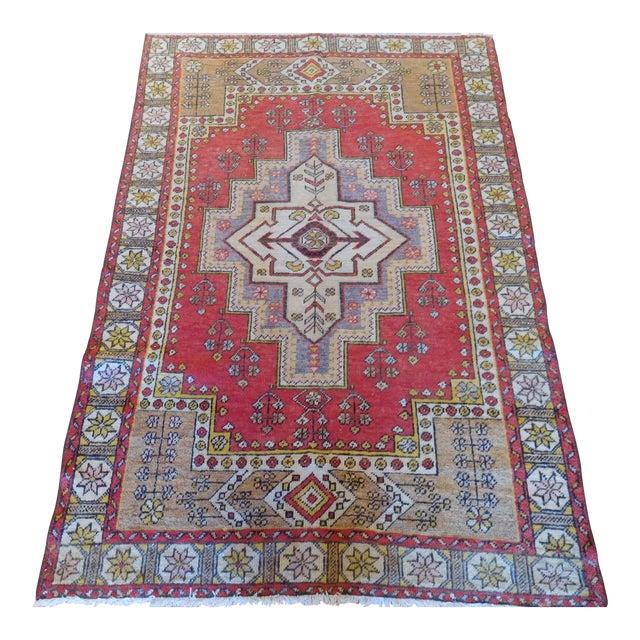 Vintage Turkish Oushak Rug - 4′ × 6′ For Sale