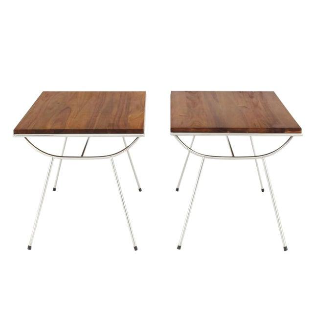 Pair of Sputnik Chrome Base Side Table For Sale