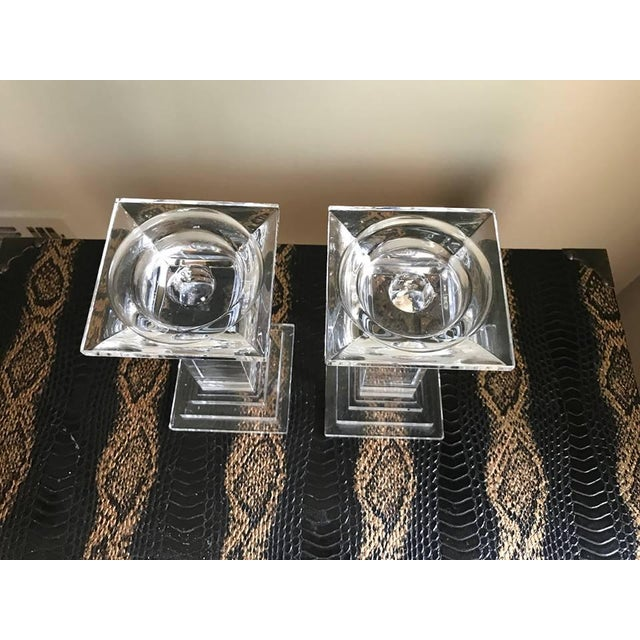 Art Deco Art Deco Crystal Decor Pillar Candle Holders - A Pair For Sale - Image 3 of 5