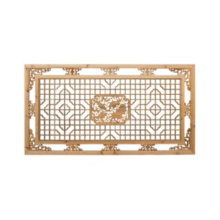 Chinese Rectangular Flower Fishes Geometric Wood Wall Decor For Sale
