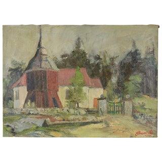 1952 Vintage Svennow Bramult Church Boras Swedish Impressionist Oil Painting For Sale