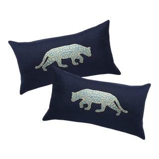 Navy & Gold Jaguar Pillows - A Pair For Sale