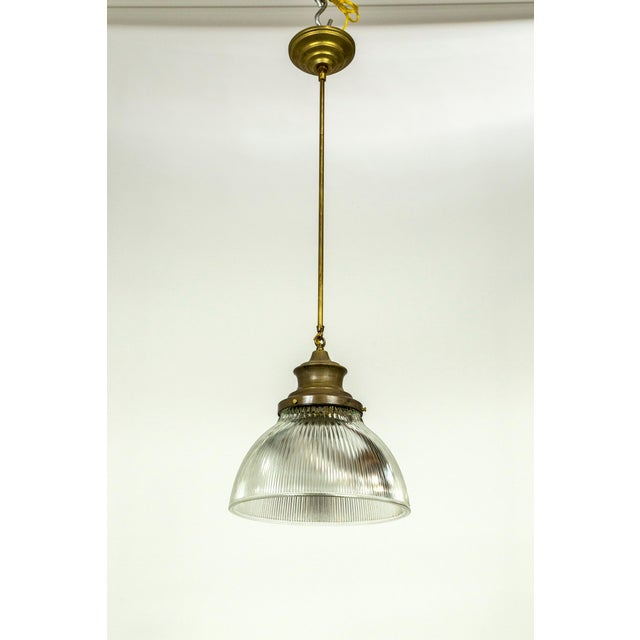 Large Holophane Glass & Brass Pendants - a Pair For Sale - Image 12 of 13