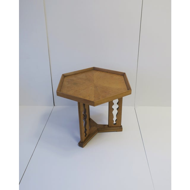 Hexagon Wood Side or End Table Esperanto by Drexel For Sale - Image 13 of 13