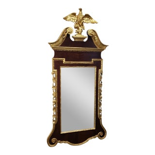 Antique Late 19th Century Federal Style Gold Leaf & Mahogany Eagle Topped Hanging Wall Mirror For Sale