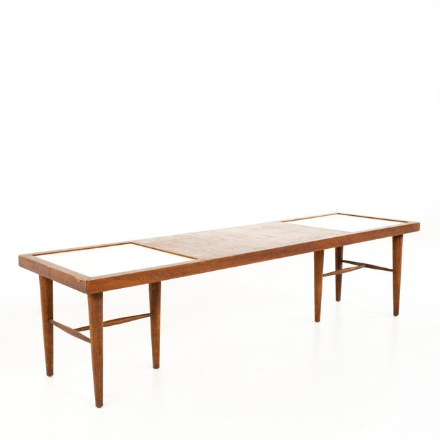 Merton Gershun for American of Martinsville Mid Century X Inlaid Walnut and White Laminate Coffee Table For Sale - Image 12 of 12