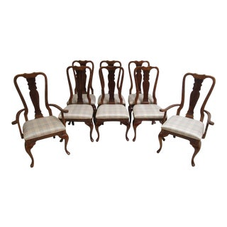 Vintage Cherry Queen Anne Dining Chairs - Set of 8