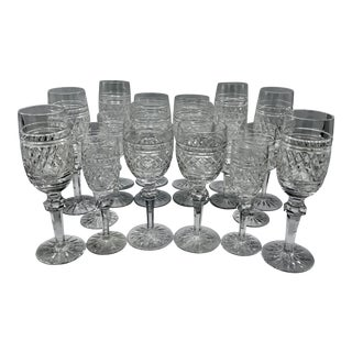 Waterford in Rare Archive Castletown Pattern Crystal Glasses - 18 Pieces For Sale