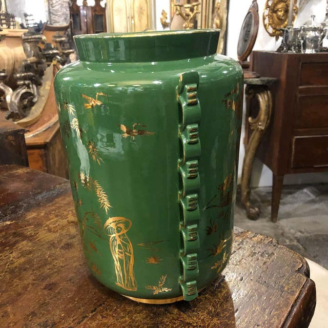 1960s Italian Mid-Century Modern Green and Gold Ceramic Vase For Sale - Image 9 of 13
