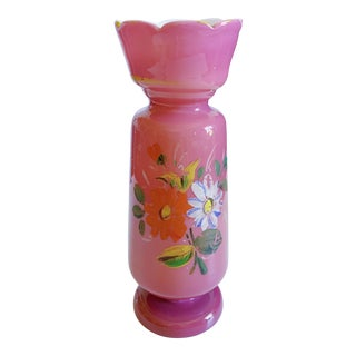 Vintage Pink Bristol Hand Painted Vase For Sale