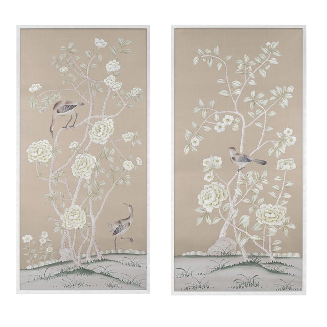 """Jardins en Fleur """"Donnington"""" Chinoiserie Painting on Silk by Simon Paul Scott - a Pair For Sale In Los Angeles - Image 6 of 6"""