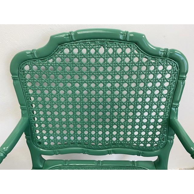 1950s Vintage Green Lacquered Cane Chairs - a Pair For Sale - Image 5 of 13