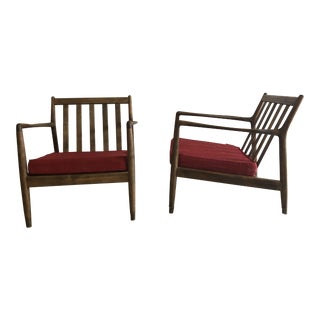 Folke Ohlsson for Dux Danish Red Cushion Lounge Club Chairs - a Pair For Sale
