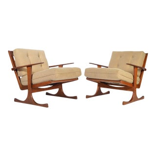 Ib Kofod-Larsen for Selig Denmark Lounge Chairs in Teak For Sale