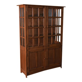"Crafters and Weavers Mission Oak 4 Door Display China Cabinet - Walnut - 49""w For Sale"