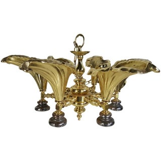 Hollywood Regency Cast Brass Calla Lily Hanging Fixture For Sale