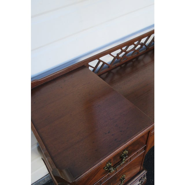 Chippendale Ball and Claw Feet Flame Mahogany Vanity Table and Mirror For Sale - Image 10 of 13