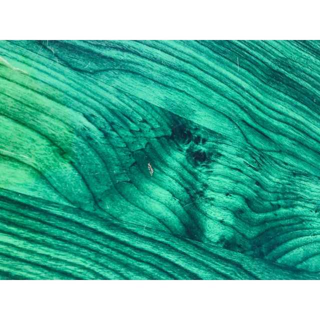 Emerald 1980s Vintage Wood Coffee Table Malachite Finish For Sale - Image 8 of 12