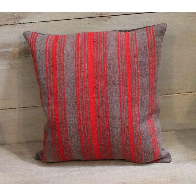 Pair of Late 19th Century Brown and Red Striped Pillows For Sale - Image 4 of 5