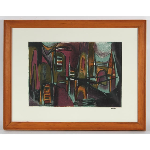 Abstract Jewel Tones Lithograph - Image 2 of 3