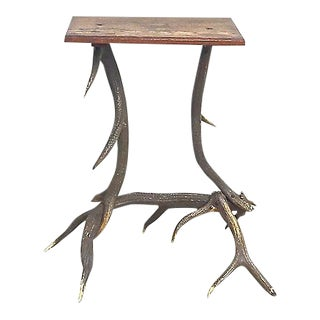 Antique Antler Side Table For Sale