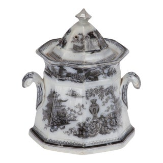 Small Transfer Ware Pot with Lid For Sale