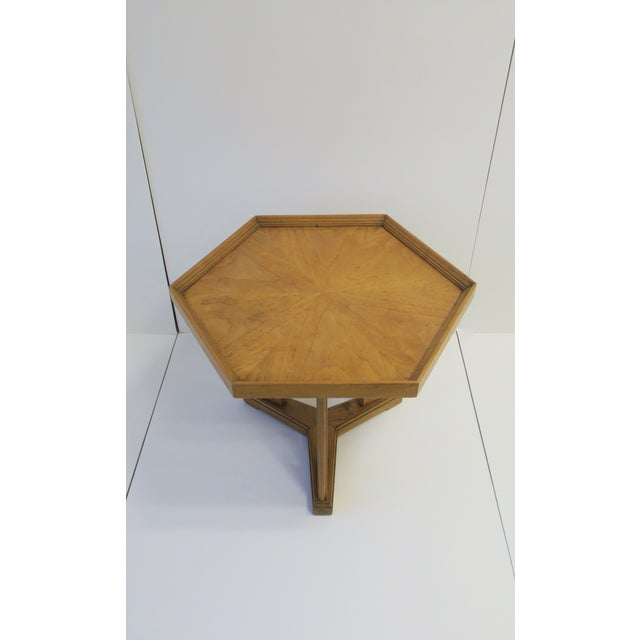 Tan Hexagon Wood Side or End Table Esperanto by Drexel For Sale - Image 8 of 13