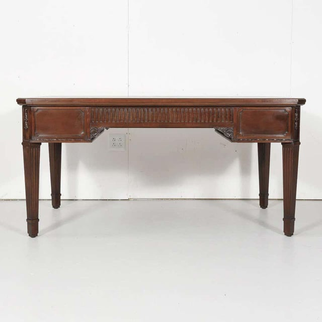 19th Century French Louis XVI Style Walnut Bureau Plat or Desk With Leather Top For Sale - Image 12 of 13
