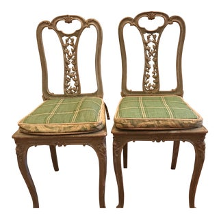 Vintage Painted French Country Style Chairs - a Pair