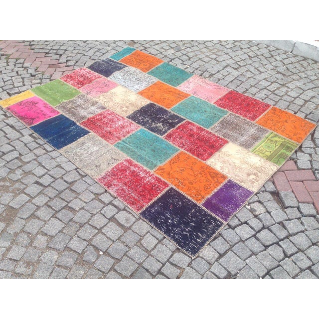 Anatolian Turkish Patchwork Rug - 5′9″ × 8′ For Sale - Image 6 of 6