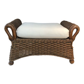 Hand-Carved Rattan Ottoman For Sale