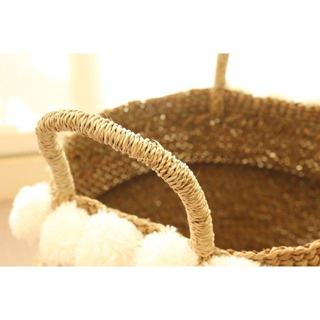 Sea Grass & White Pom Pom Basket - Image 6 of 9