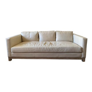 Pottery Barn Leather Sofa with Wood Base For Sale