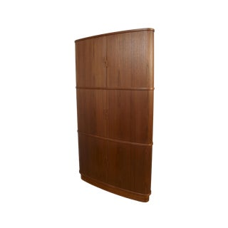 1960s Danish Modern Skovmand and Andersen Tambour Teak Corner Cabinet For Sale